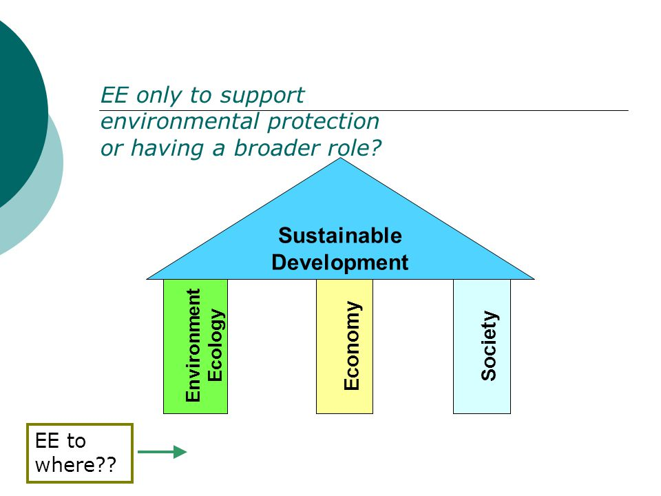 Environment Ecology Economy Society Sustainable Development EE only to support environmental protection or having a broader role.