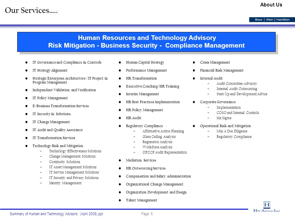 Page 5Summary of Human and Technology Advisors (April 2008).ppt Our Services…..