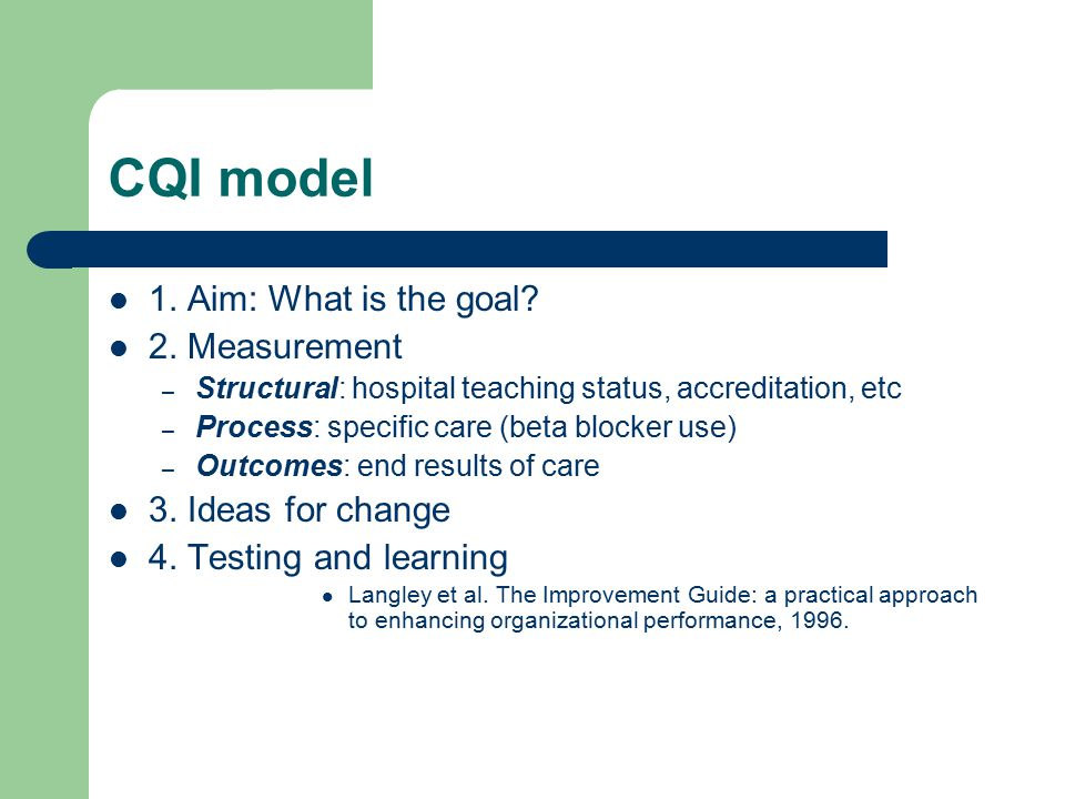 CQI model 1. Aim: What is the goal. 2.