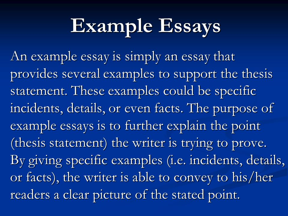 Example Essays An Example Essay Is Simply An Essay That Provides Example  Essays An Example Essay
