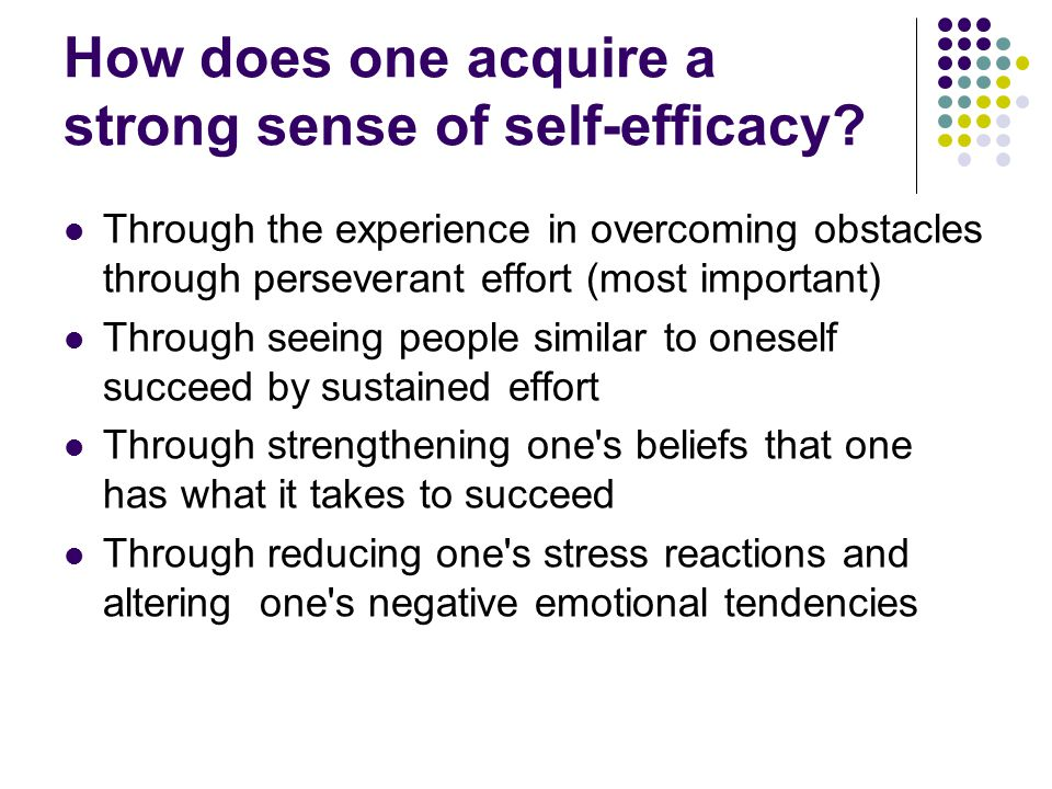How does one acquire a strong sense of self-efficacy.
