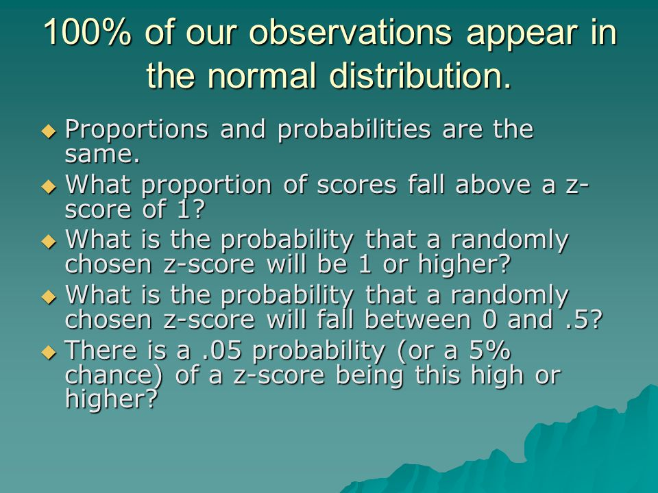 100% of our observations appear in the normal distribution.