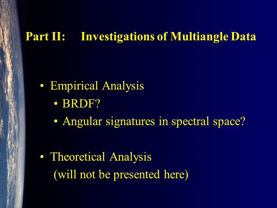 Part II:Investigations of Multiangle Data Empirical Analysis BRDF.