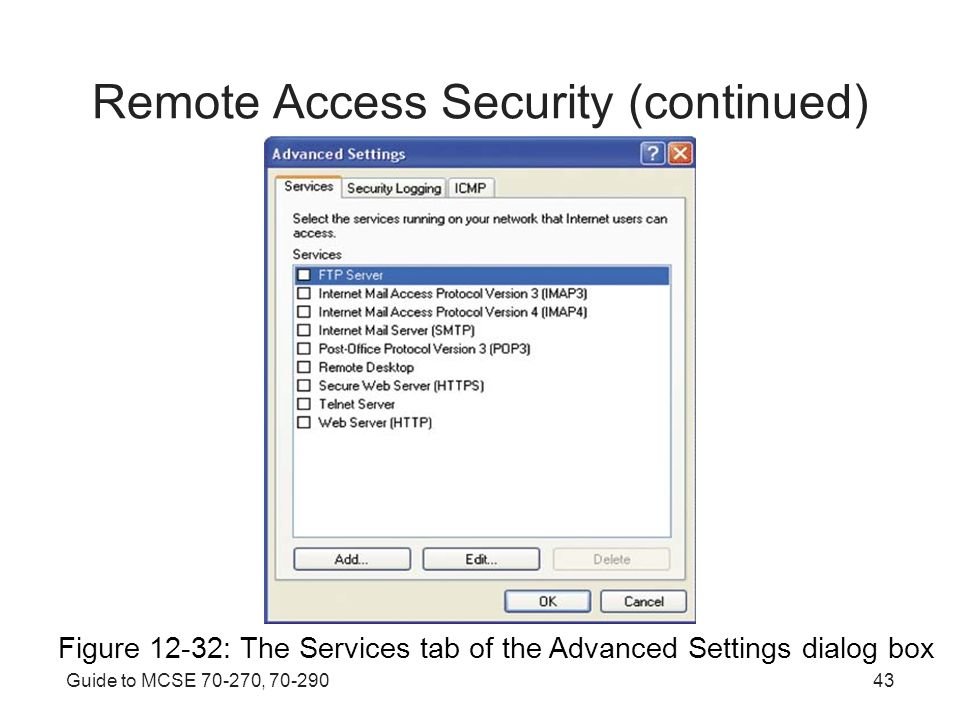 Guide to MCSE , Remote Access Security (continued) Figure 12-32: The Services tab of the Advanced Settings dialog box