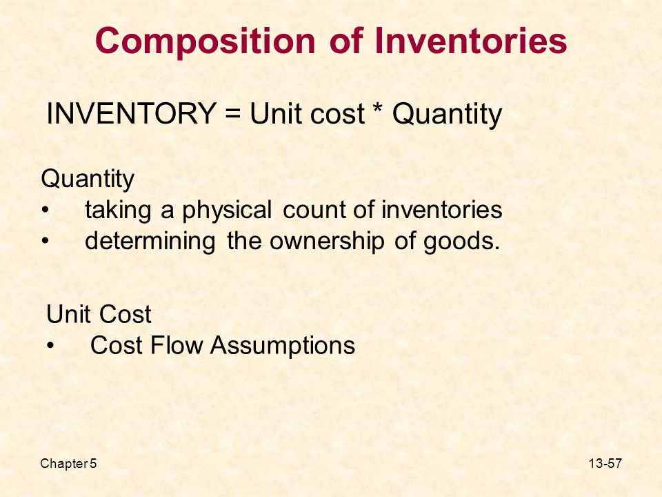 Chapter Composition of Inventories Quantity taking a physical count of inventories determining the ownership of goods.
