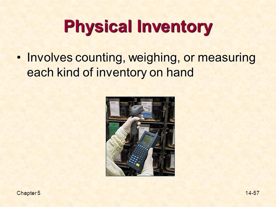 Chapter Physical Inventory Involves counting, weighing, or measuring each kind of inventory on handInvolves counting, weighing, or measuring each kind of inventory on hand