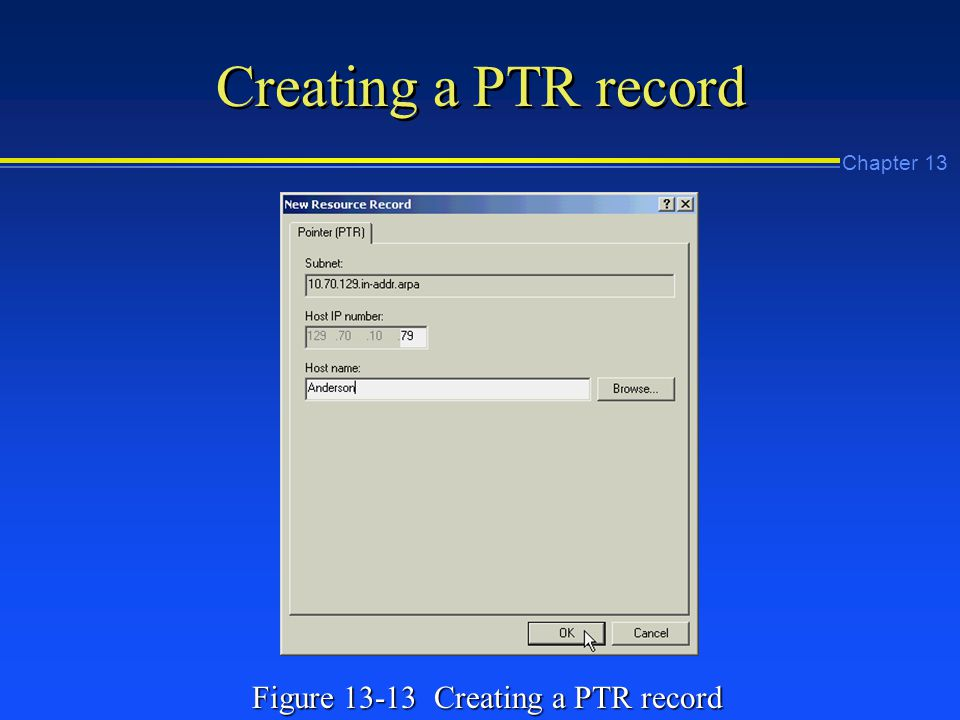 Chapter 13 Creating a PTR record Figure Creating a PTR record