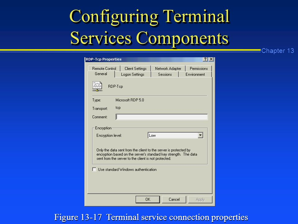 Chapter 13 Configuring Terminal Services Components Figure Terminal service connection properties