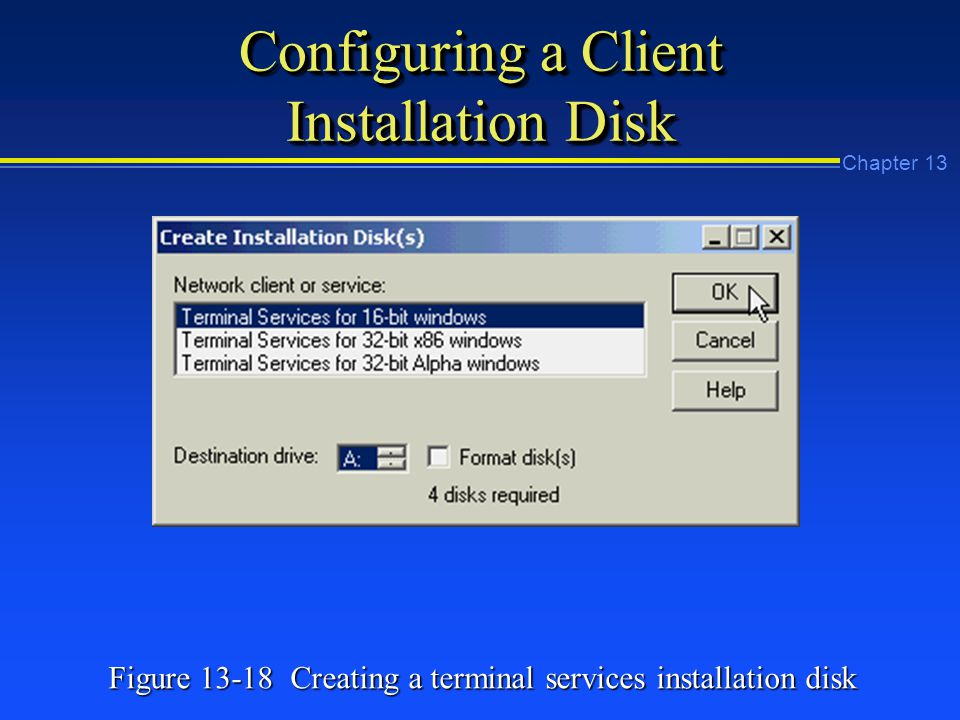 Chapter 13 Configuring a Client Installation Disk Figure Creating a terminal services installation disk