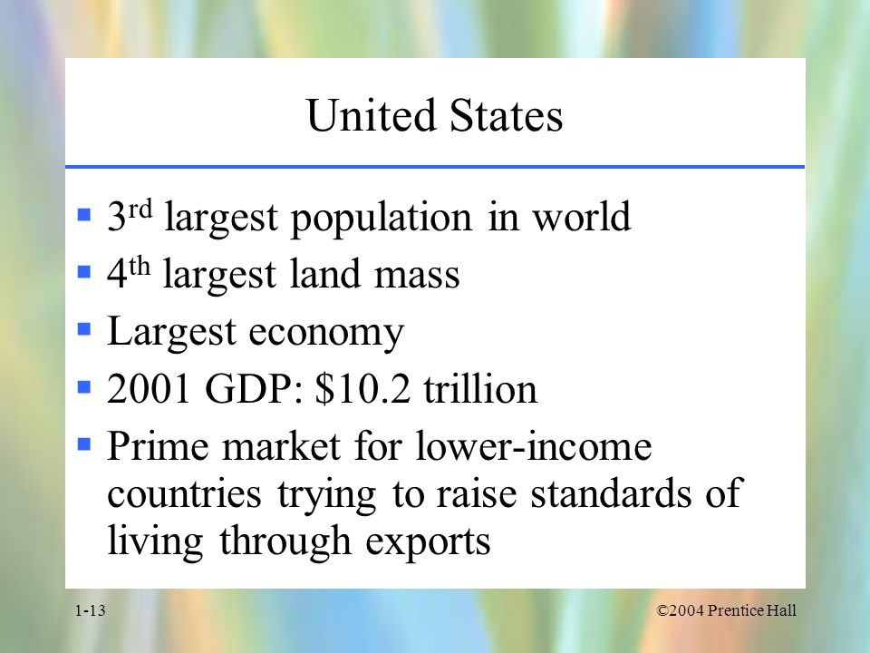 ©2004 Prentice Hall1-13 United States  3 rd largest population in world  4 th largest land mass  Largest economy  2001 GDP: $10.2 trillion  Prime market for lower-income countries trying to raise standards of living through exports