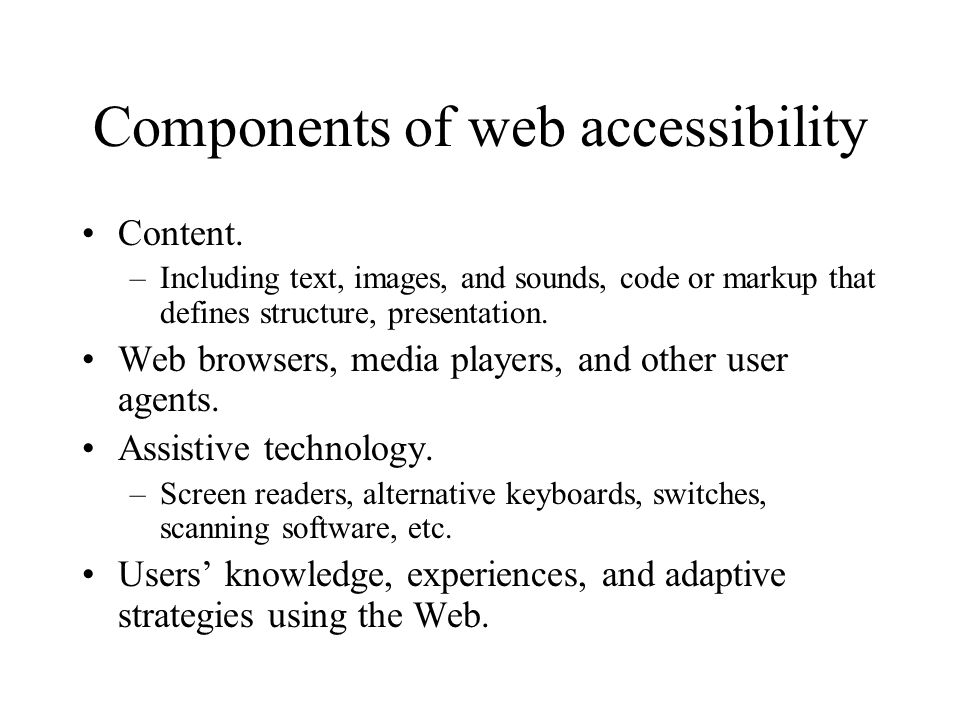 Components of web accessibility Content.