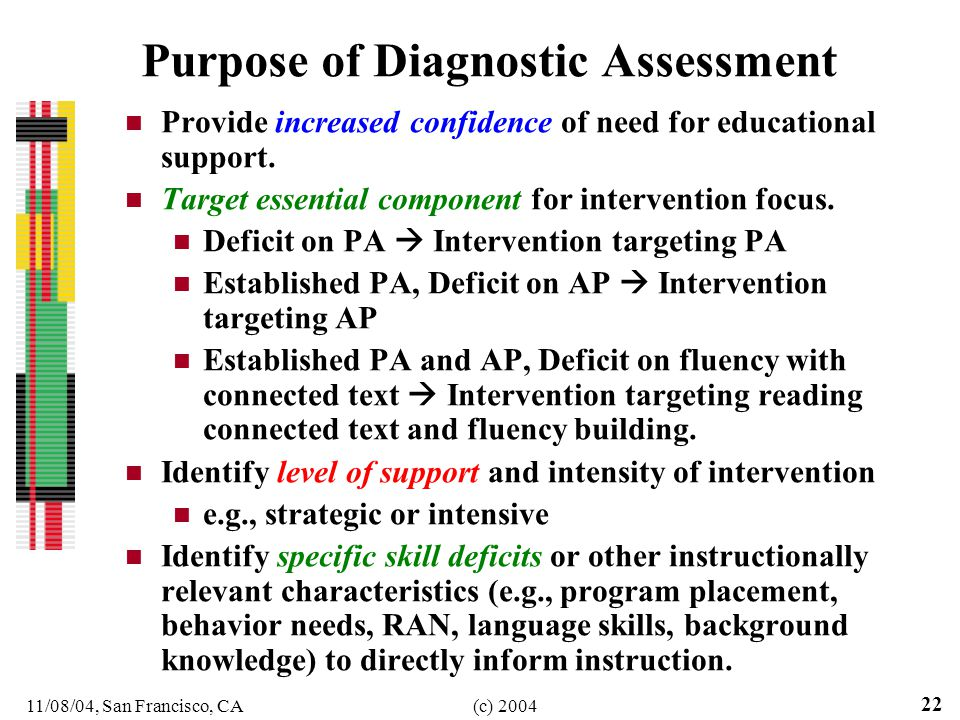 11/08/04, San Francisco, CA(c) Purpose of Diagnostic Assessment Provide increased confidence of need for educational support.
