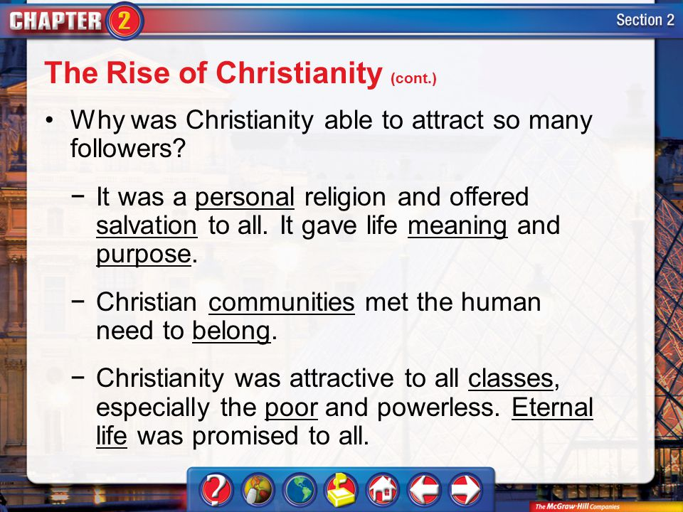 Section 2 Why was Christianity able to attract so many followers.