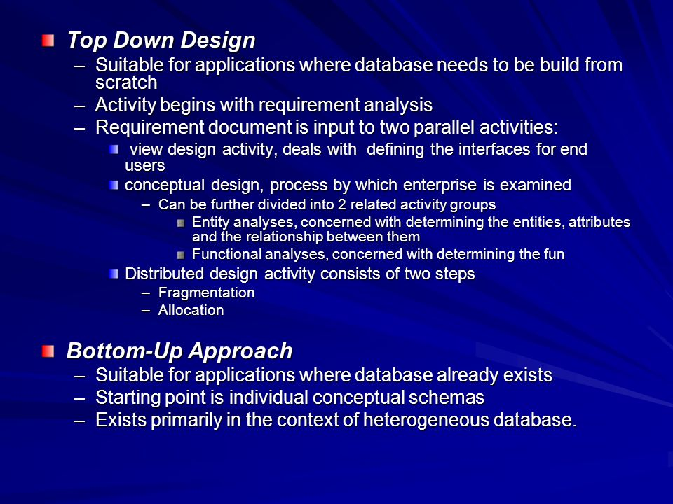 12 top down design - How To Design A Database From Scratch