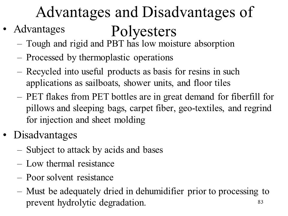 What are the disadvantages in Glass filled nylon and Polyurethane?