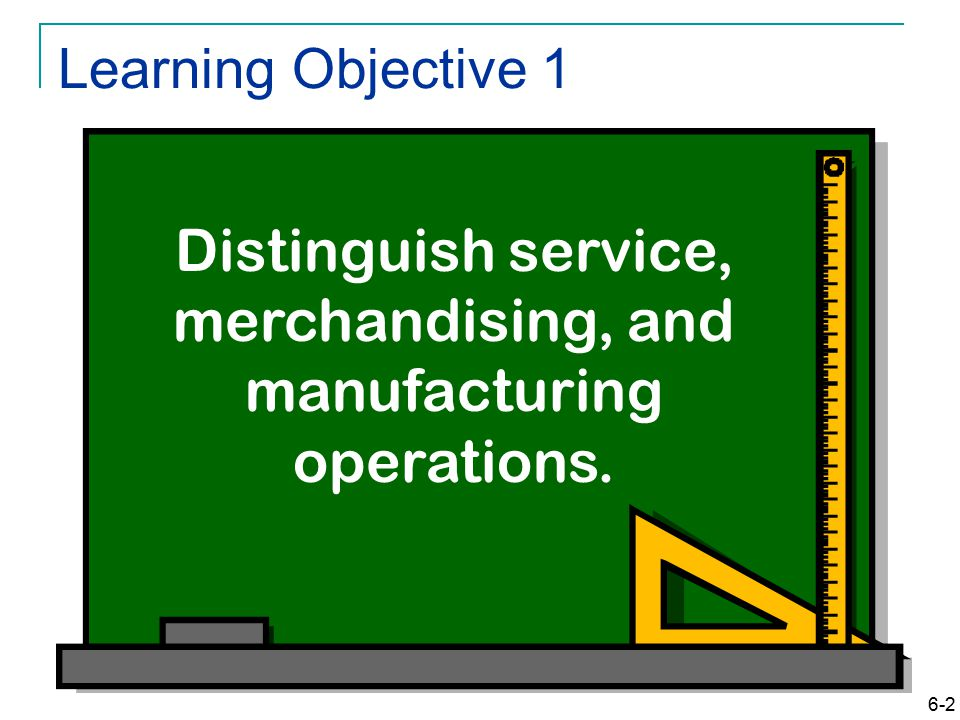 6-2 Learning Objective 1 Distinguish service, merchandising, and manufacturing operations.
