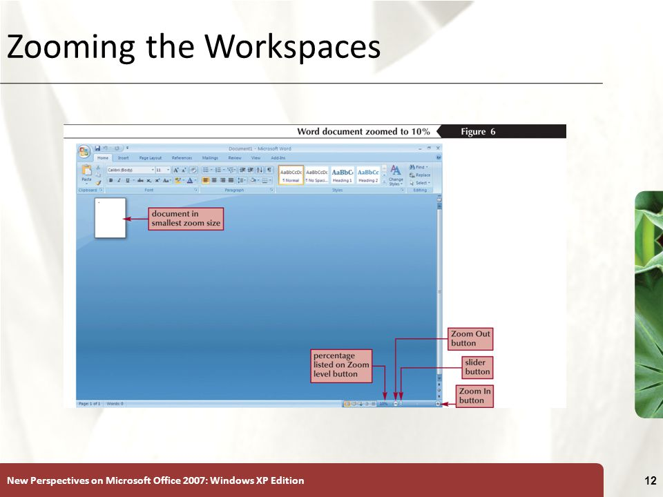 New Perspectives on Microsoft Office 2007: Windows XP Edition 12 Zooming the Workspaces