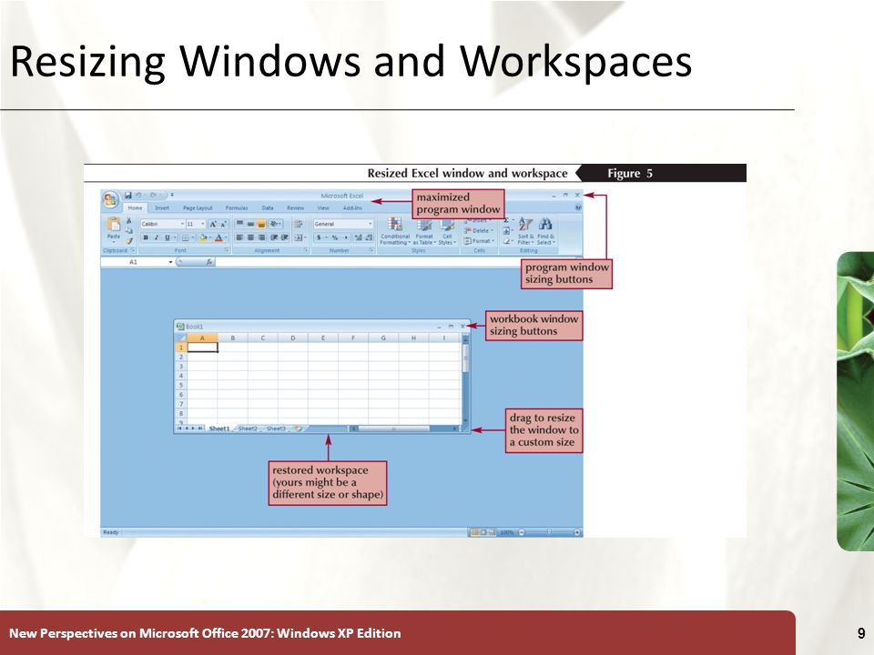New Perspectives on Microsoft Office 2007: Windows XP Edition 9 Resizing Windows and Workspaces