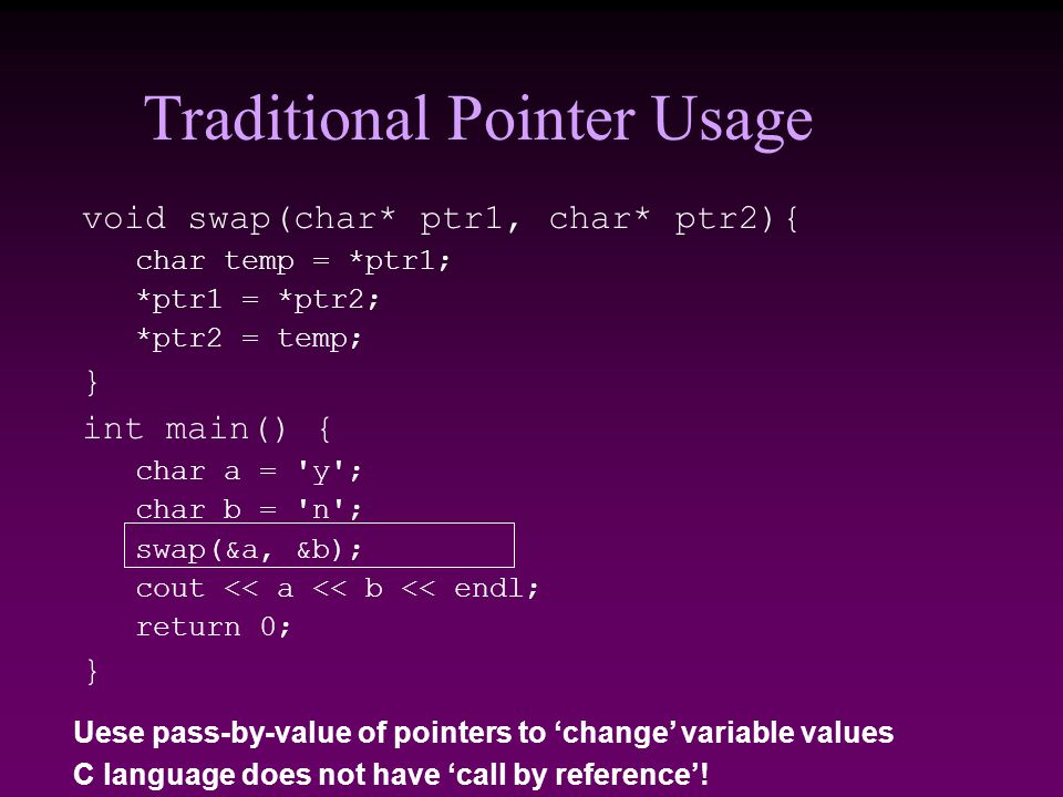 Traditional Pointer Usage void swap(char* ptr1, char* ptr2){ char temp = *ptr1; *ptr1 = *ptr2; *ptr2 = temp; } int main() { char a = y ; char b = n ; swap(&a, &b); cout << a << b << endl; return 0; } Uese pass-by-value of pointers to 'change' variable values C language does not have 'call by reference'!