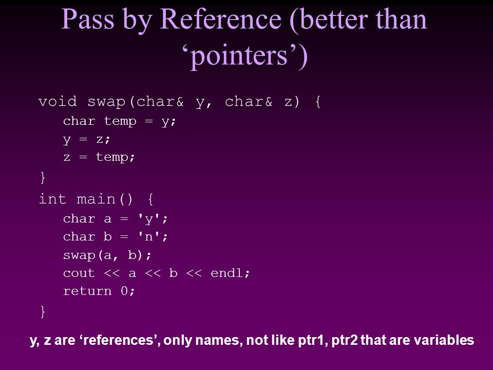 Pass by Reference (better than 'pointers') void swap(char& y, char& z) { char temp = y; y = z; z = temp; } int main() { char a = y ; char b = n ; swap(a, b); cout << a << b << endl; return 0; } y, z are 'references', only names, not like ptr1, ptr2 that are variables