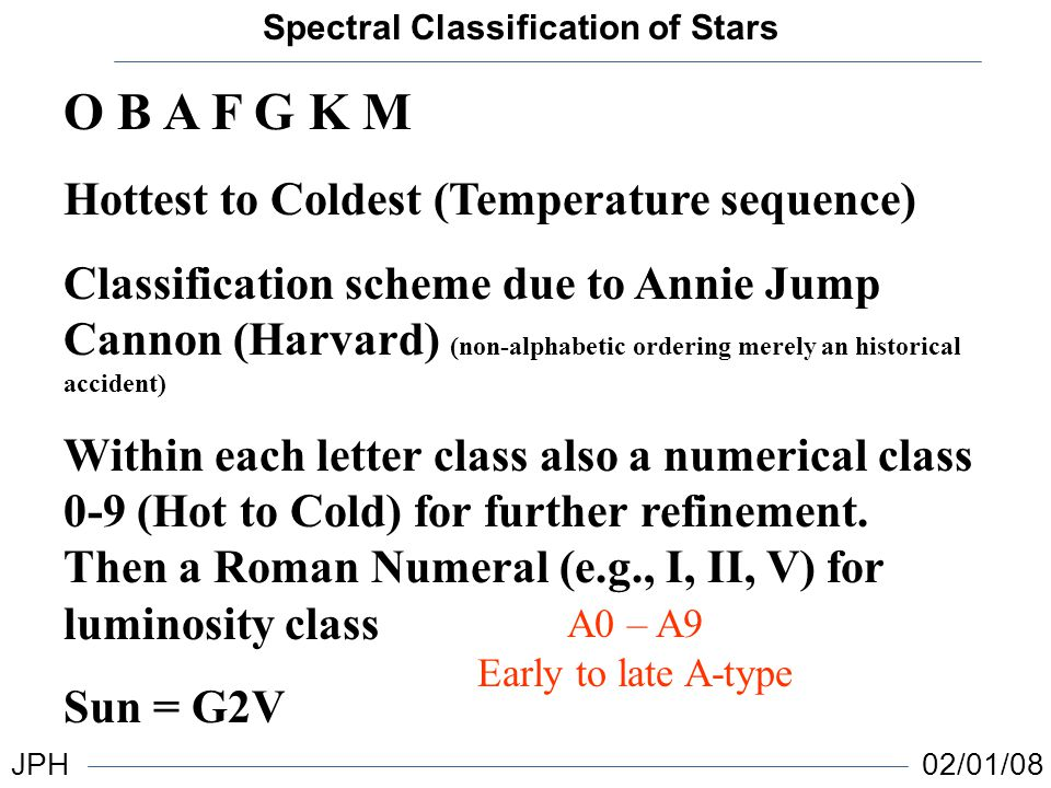 Spectral classification of stars jph 020108 o b a f g k m hottest spectral classification of stars jph 020108 o b a f g k m hottest to coldest temperature ccuart Gallery