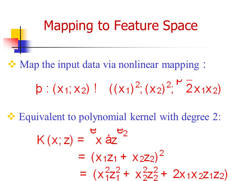 Mapping to Feature Space  Map the input data via nonlinear mapping :  Equivalent to polynomial kernel with degree 2: