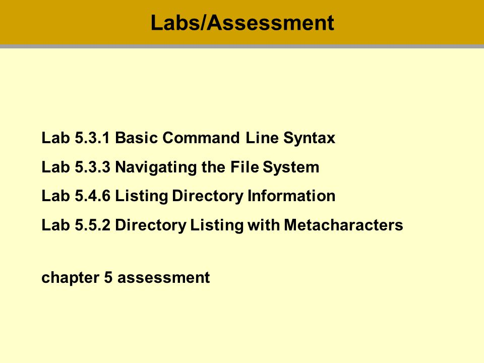 Lab Basic Command Line Syntax Lab Navigating the File System Lab Listing Directory Information Lab Directory Listing with Metacharacters chapter 5 assessment Labs/Assessment
