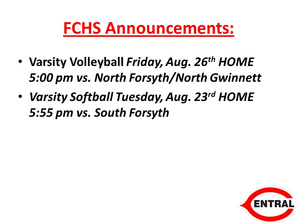 FCHS Announcements: Varsity Volleyball Friday, Aug.