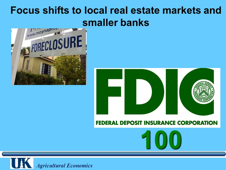 Agricultural Economics Focus shifts to local real estate markets and smaller banks 100