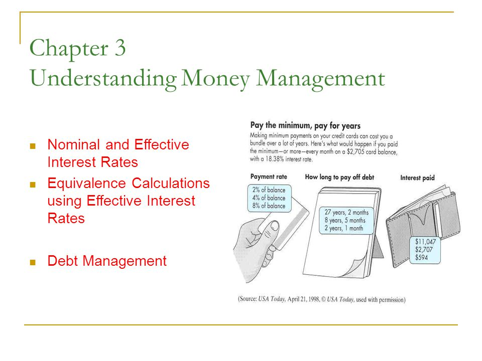 Chapter 3 Understanding Money Management Nominal and Effective Interest Rates Equivalence Calculations using Effective Interest Rates Debt Management