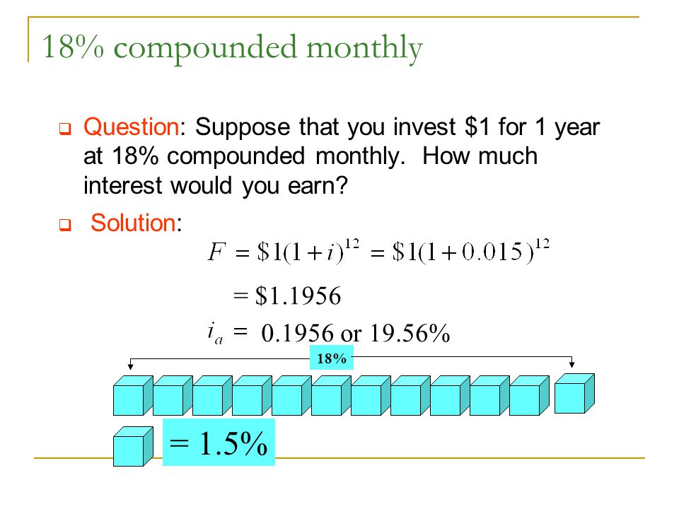18% compounded monthly  Question: Suppose that you invest $1 for 1 year at 18% compounded monthly.