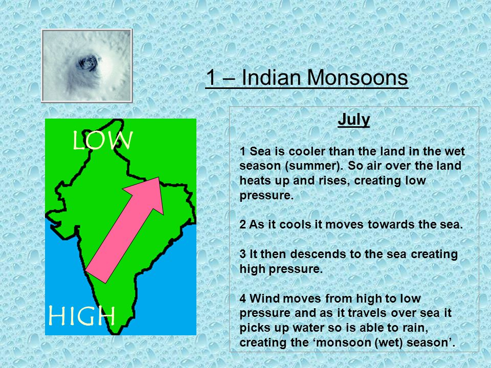 1 – Indian Monsoons July 1 Sea is cooler than the land in the wet season (summer).