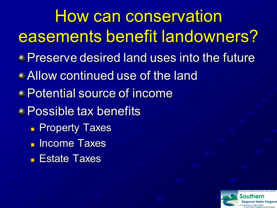 How can conservation easements benefit landowners.