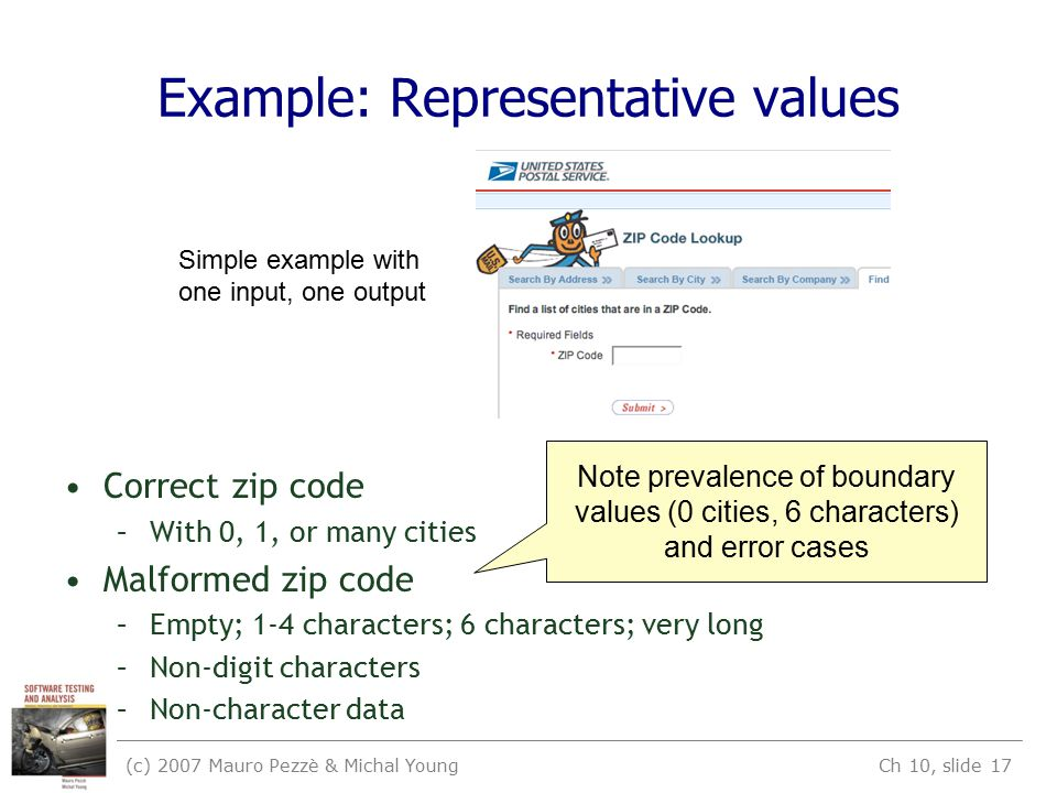 (c) 2007 Mauro Pezzè & Michal Young Ch 10, slide 17 Example: Representative values Correct zip code –With 0, 1, or many cities Malformed zip code –Empty; 1-4 characters; 6 characters; very long –Non-digit characters –Non-character data Simple example with one input, one output Note prevalence of boundary values (0 cities, 6 characters) and error cases