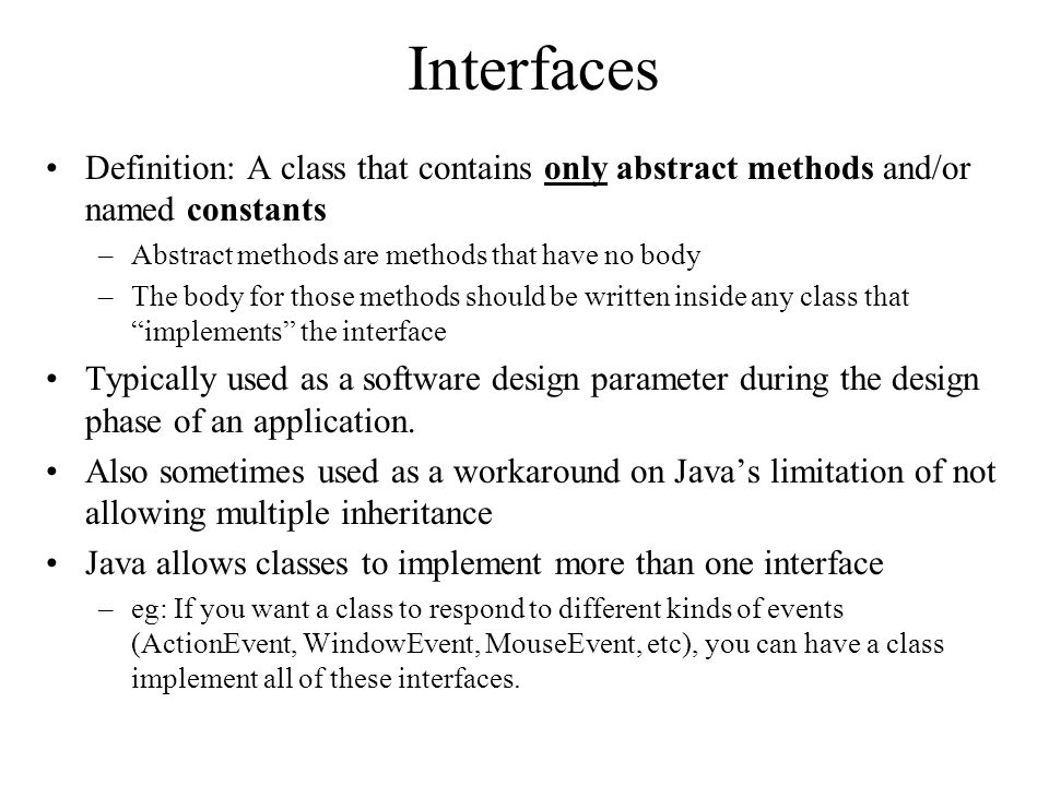 Java 212 interfaces intro to uml diagrams uml class diagram class interfaces definition a class that contains only abstract methods andor named constants ccuart Choice Image