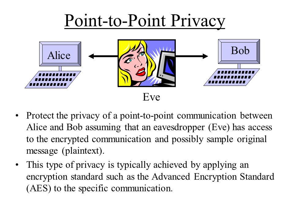 Point-to-Point Privacy Protect the privacy of a point-to-point communication between Alice and Bob assuming that an eavesdropper (Eve) has access to the encrypted communication and possibly sample original message (plaintext).