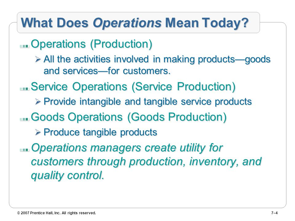 © 2007 Prentice Hall, Inc. All rights reserved.7–4 What Does Operations Mean Today.