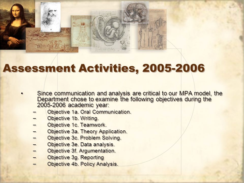 Assessment Activities, Since communication and analysis are critical to our MPA model, the Department chose to examine the following objectives during the academic year: –Objective 1a.