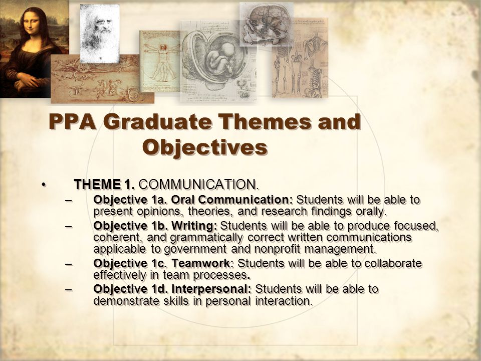 PPA Graduate Themes and Objectives THEME 1. COMMUNICATION.