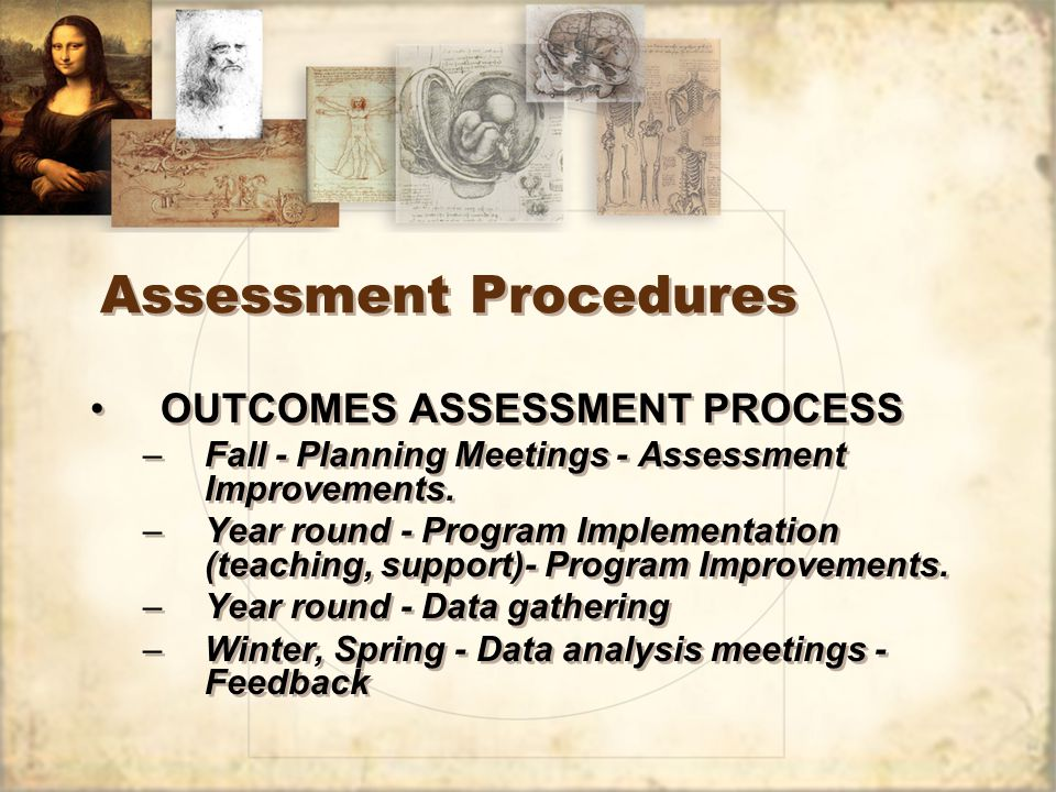 Assessment Procedures OUTCOMES ASSESSMENT PROCESS –Fall - Planning Meetings - Assessment Improvements.