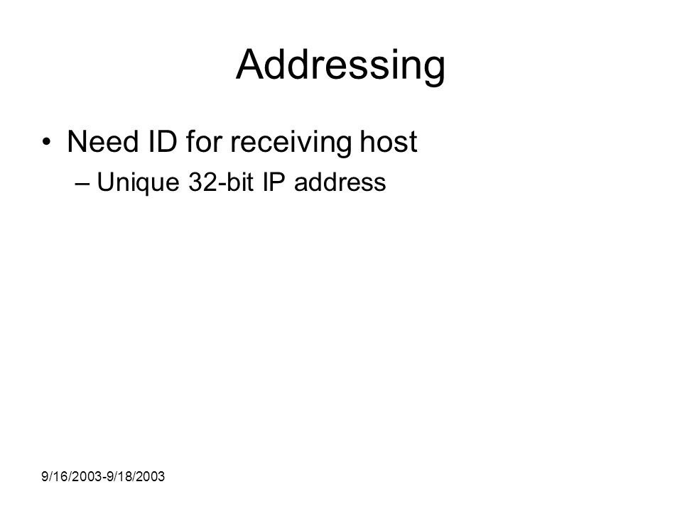 9/16/2003-9/18/2003 Addressing Need ID for receiving host –Unique 32-bit IP address