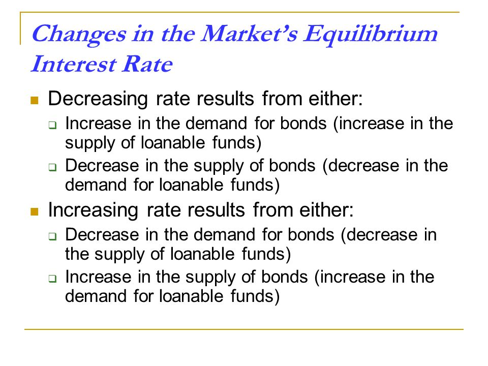 Changes in the Market's Equilibrium Interest Rate Decreasing rate results from either:  Increase in the demand for bonds (increase in the supply of loanable funds)  Decrease in the supply of bonds (decrease in the demand for loanable funds) Increasing rate results from either:  Decrease in the demand for bonds (decrease in the supply of loanable funds)  Increase in the supply of bonds (increase in the demand for loanable funds)