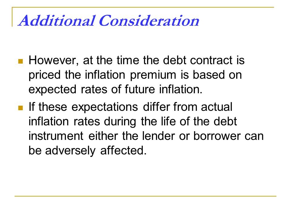 Additional Consideration However, at the time the debt contract is priced the inflation premium is based on expected rates of future inflation.