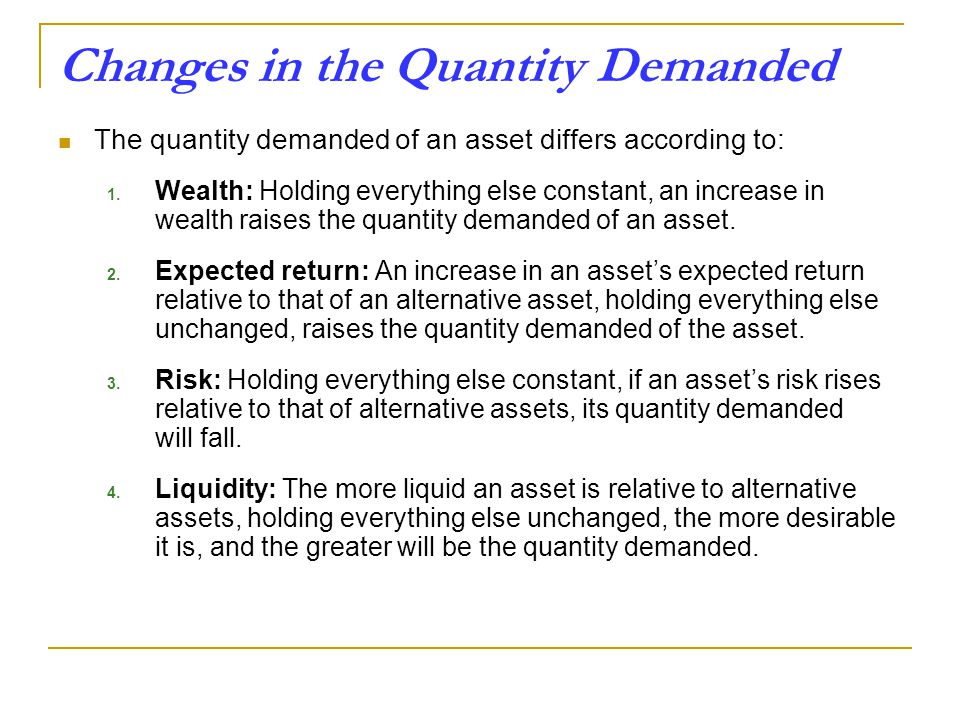 Changes in the Quantity Demanded The quantity demanded of an asset differs according to: 1.