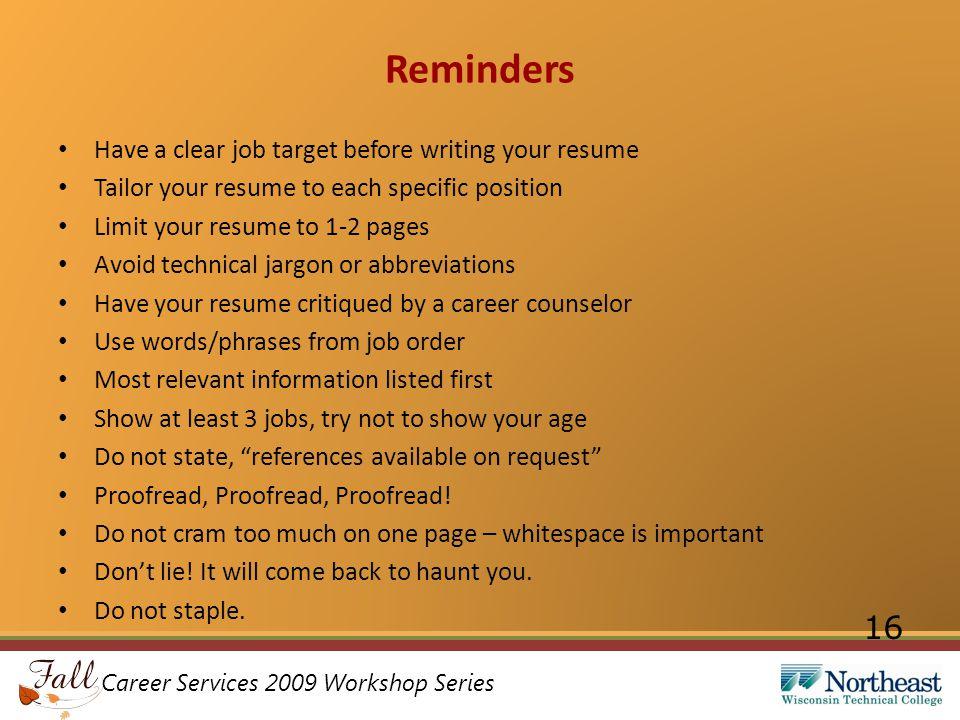 career services 2009 workshop series resume preparation ppt
