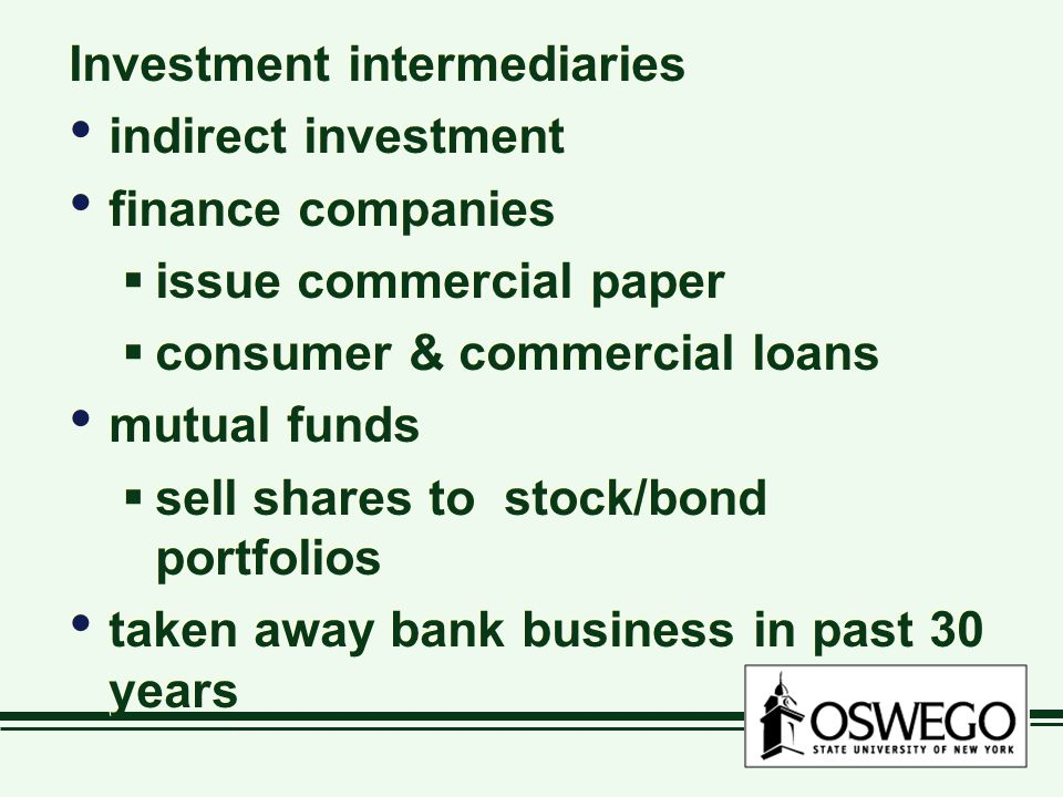 Investment intermediaries indirect investment finance companies  issue commercial paper  consumer & commercial loans mutual funds  sell shares to stock/bond portfolios taken away bank business in past 30 years Investment intermediaries indirect investment finance companies  issue commercial paper  consumer & commercial loans mutual funds  sell shares to stock/bond portfolios taken away bank business in past 30 years