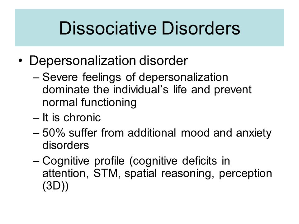 anxiety somatoform and dissociative disorders outline Stress-related, and somatoform disorders phobic anxiety disorder (5:20 stress reactions and adjustment and dissociative disorders.