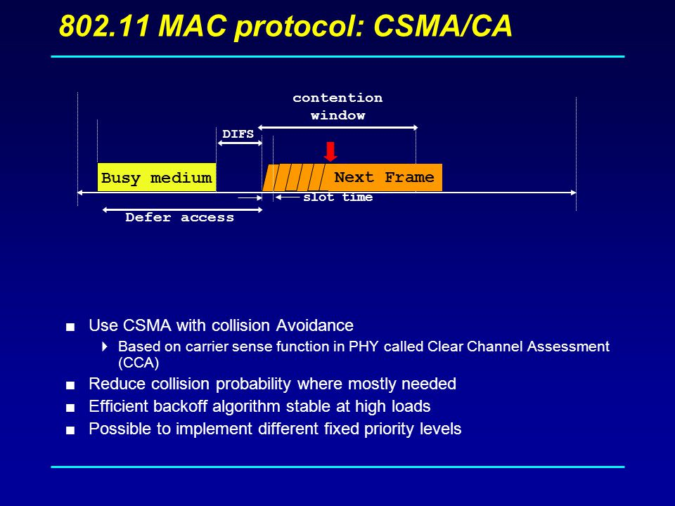 MAC protocol: CSMA/CA  Use CSMA with collision Avoidance  Based on carrier sense function in PHY called Clear Channel Assessment (CCA)  Reduce collision probability where mostly needed  Efficient backoff algorithm stable at high loads  Possible to implement different fixed priority levels Busy medium Defer access DIFS contention window slot time Next Frame