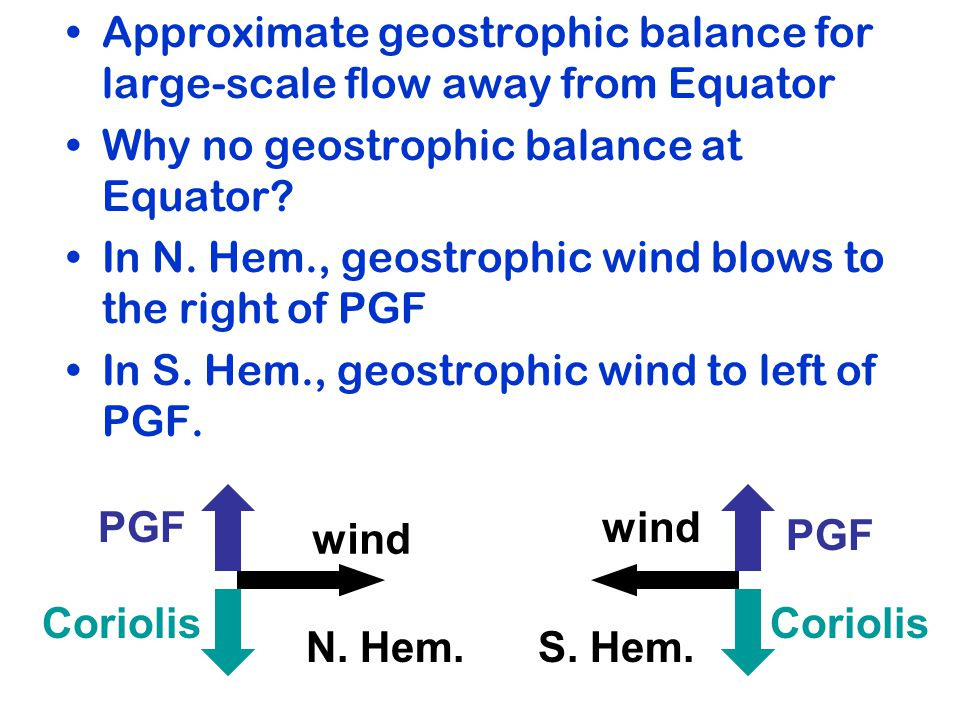 Approximate geostrophic balance for large-scale flow away from Equator Why no geostrophic balance at Equator.