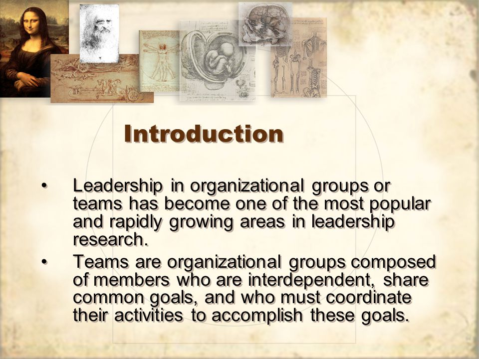 Introduction Leadership in organizational groups or teams has become one of the most popular and rapidly growing areas in leadership research.